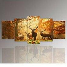 5 Panel de Arte de La Pared, El ciervo, Cuadros de la Pintura Impresión En Lienzo, La Imagen Para la Decoración Casera Moderna 5 unidades de un conjunto con enmarcado