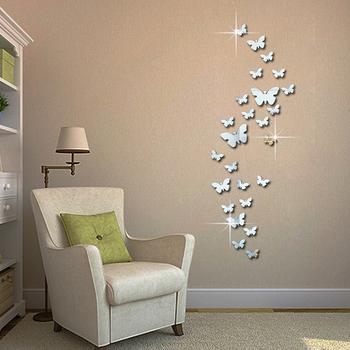 12 sztuk 3D lustra ścienne motyl naklejki kalkomania Wall Art wymienny pokój dekoracja na przyjęcie ślubne domu dekoracja na ścianę naklejki dla dzieci pokój tanie i dobre opinie SOLEDI Wielu kawałek pakiet Naklejki ścienne lustro powierzchni Modern Na ścianie Wzór 12 butterfly wall sticker