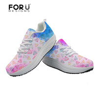 FORUDESIGNS Rainbow Diamond Printed Casual Women's Sneakers Platform Swing Shoes for Women Fashion Tenis Feminino Wedge Sneakers