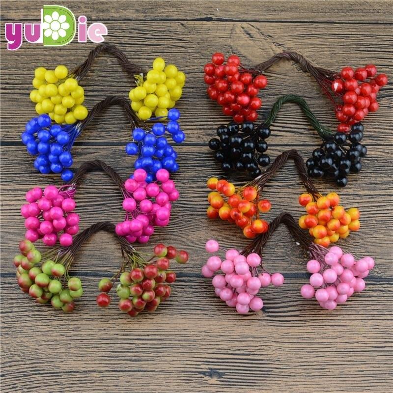25 unids (50 cabezas) 0.7 cm Mini Bayas artificiales Estambre de la flor para el