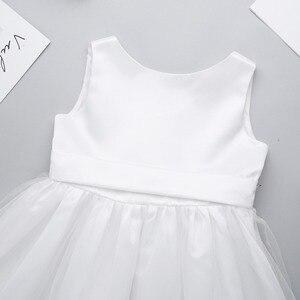 Image 4 - שנהב/לבן בנות Bowknot גבוהה נמוך Hem פרח ילדה שמלת נסיכת תחרות מסיבת יום הולדת שמלת ילדים ראשית הקודש שמלות