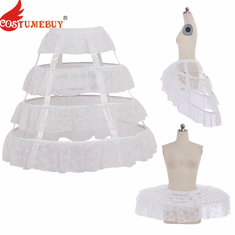 Costumebuy Lolita Gothic Underskirt 68CM Length Underdress 3 Hoop Lace Birdcage Woman Wedding Ballet Pannier Casual Petticoat