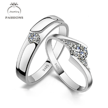 Wholesale Fashion 925 Sterling Silver Rings Open Resizable CZ diamond Lover Set Rings For Couples Women/Men Jewelry