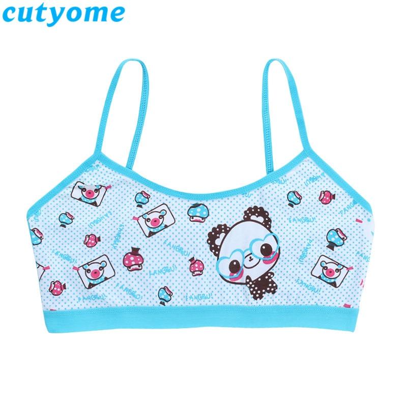 Teenage Girls Training Bra Kids Underwear Camisole Cotton Cartoon Panda Small Young School Children Vest Bras Child Underclothes