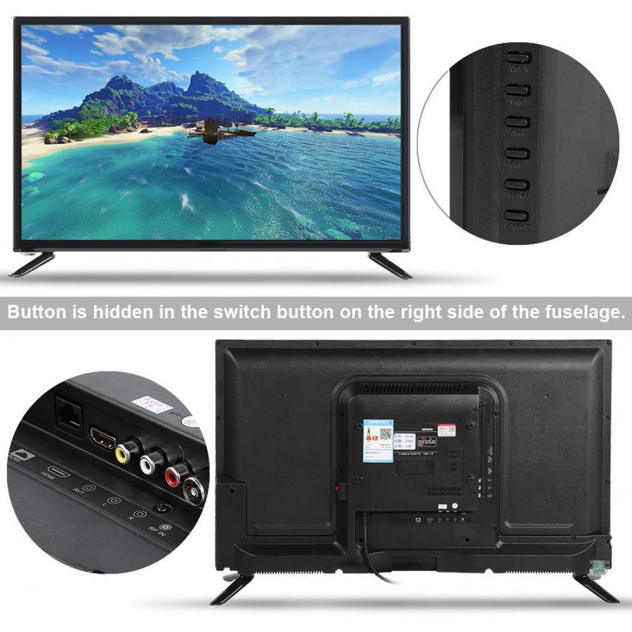 "43"" TV HD 1080P LCD Television DVB-T2 Flat Screen LCD Smart TV Black TV Edition 75W 60HZ HDR Real-time with HDMI/USB/RF/AV Port"