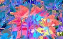 Oprawione streszczenie cvety lepestki linie kraski tkanina jedwabna plakat na płótnie