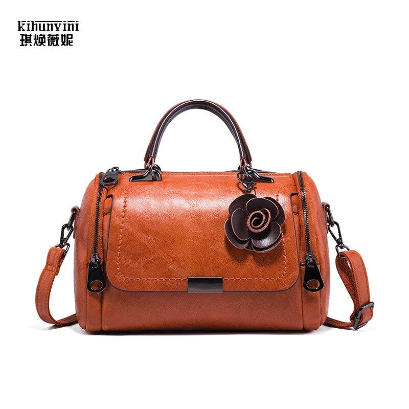 KIHUN 2019 New Fashion Women Handbag Vintage Pu Leather Mini Handbags Ins Hot Popular All matched Ladies Boston Pillow Hand Bags