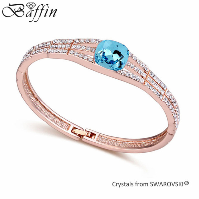 2015 New Rose Gold Plated Bangles Made With Swarovski Elements Crystals from Swarovski Vintage Jewelry