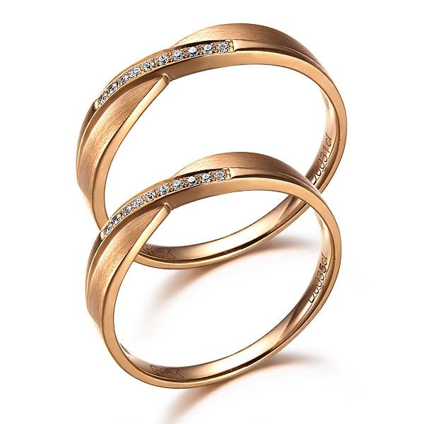 GVBOR I8K Rose Gold Lovers Couple Diamond Wedding Ring For Women
