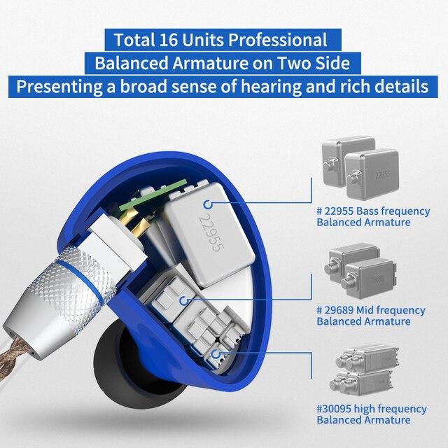 CCA C16 8BA jednostki napędowe w uchu słuchawki 8 zbalansowana armatura słuchawki hi-fi słuchawki douszne z odpinanym odłączanym kablem 2PIN C10