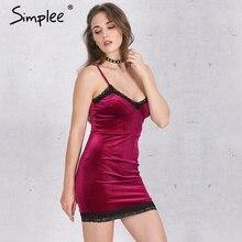 Simplee fringe evening bodycon vestidos elegant velvet dresses party dress red