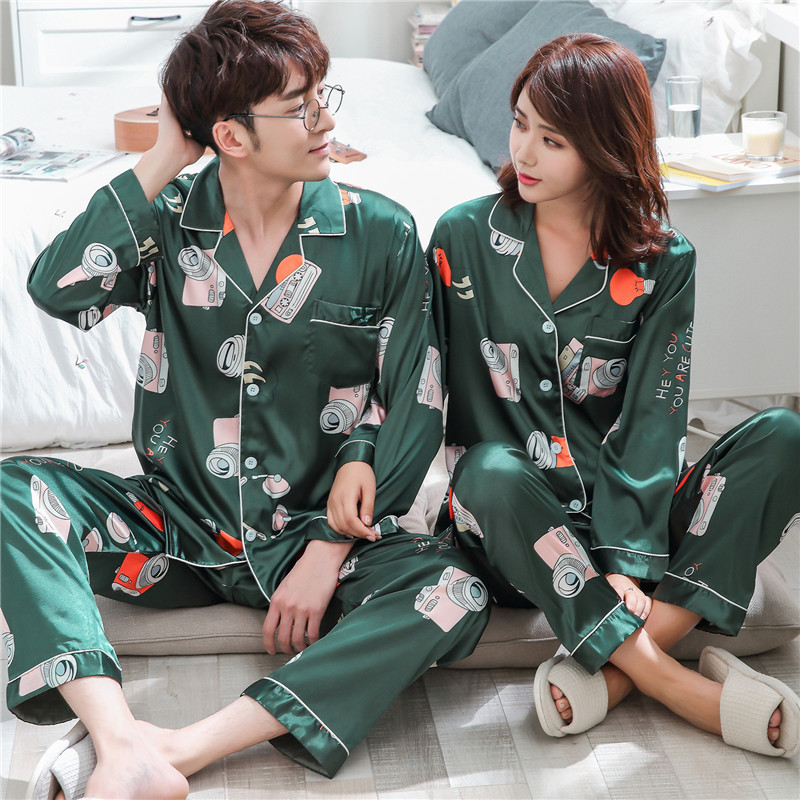 High Quality Silk Satin Couple Pajama Sets Long Sleeve Lovers' Clothes Cartoon Womens Pajamas Set Casual Indoor Clothing Pyjamas