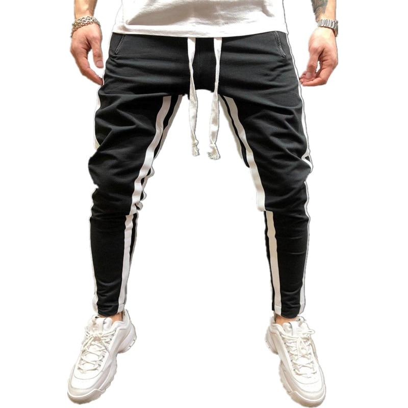 Hot Men's Sweatpants Side Stripe Hip Hop Track Pants Street Wear Skinny Jogger Sweatpants Elastic Waist Male Casual TrouserS 3XL