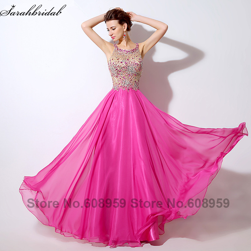 Sexy Illusion Hot Pink   Prom     Dresses   Crystal Beaded Sequins Evening Gowns Formal   Dress   Real Sample Rode De Soiree LSX043