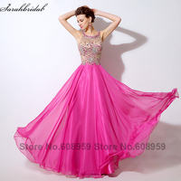 Sexy Illusion Hot Pink Prom Dresses 2017 Crystal Beaded Sequins Evening Gowns Formal Dress Real Sample Rode De Soiree LSX043