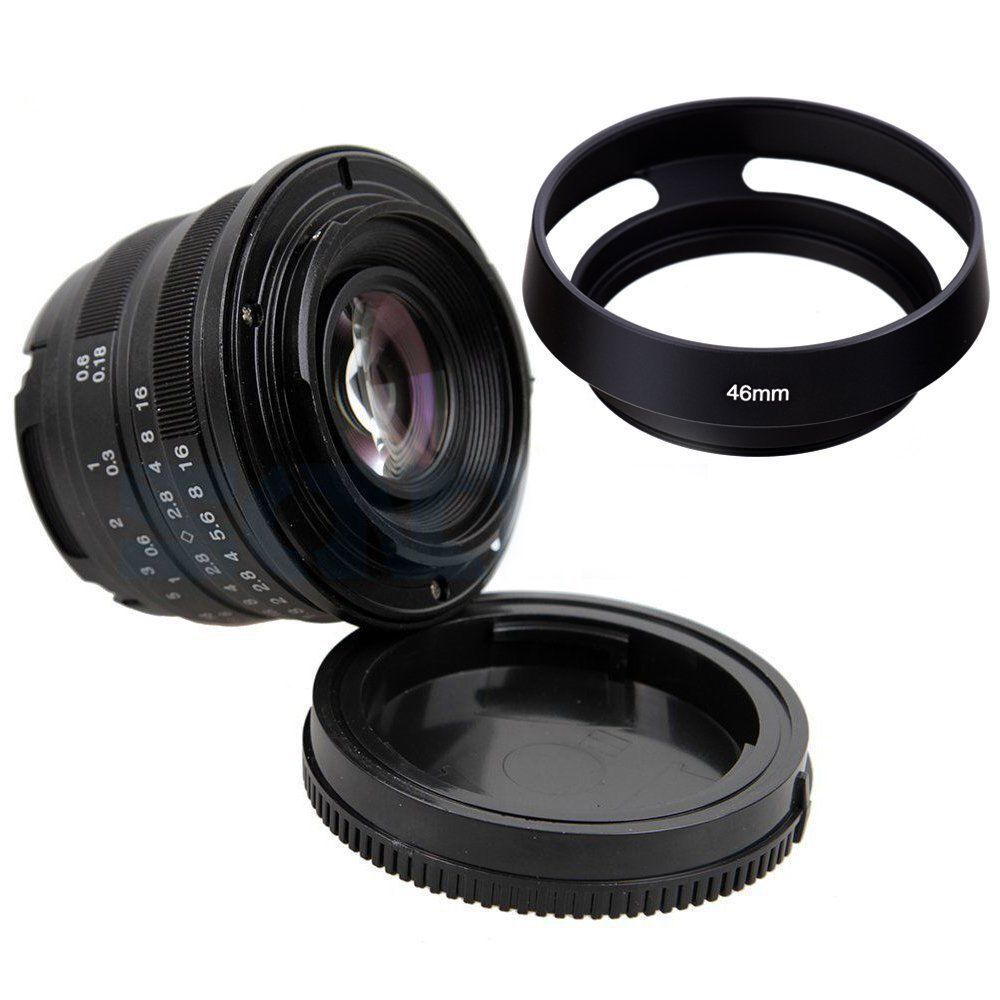Black/Sliver 25mm F/1.8 HD MC Manual Focus Lens+ 46mm Metal lens hood for Fuji X-E2 X-E1 X-Pro1 X-M1 X-A2 X-A1 X-T1 X-PRO2 X-T10 цена