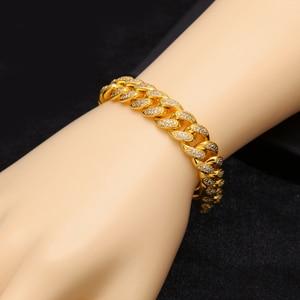 Image 3 - Uwin Hip Hop Luxury Crystal Cz Zircon Triple Lock Bracelet 14mm Cuban Link Box Clasp Bracelet Men Female Jewlery Drop Shipping