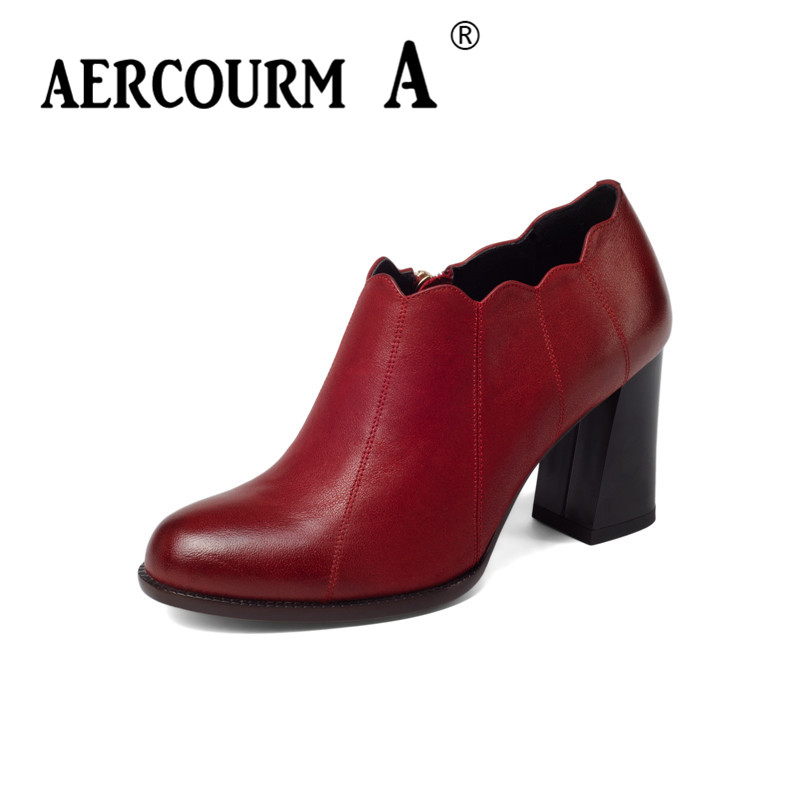 Aercourm A 2018 Black Women Shoes Spring Pumps Shoes Round Toe Shallow Thick Heel Women High Heels Genuine Leather Shoes Z311 new women s high heels pumps sexy bride party thick heel round toe genuine leather high heel shoes for office lady women t8802