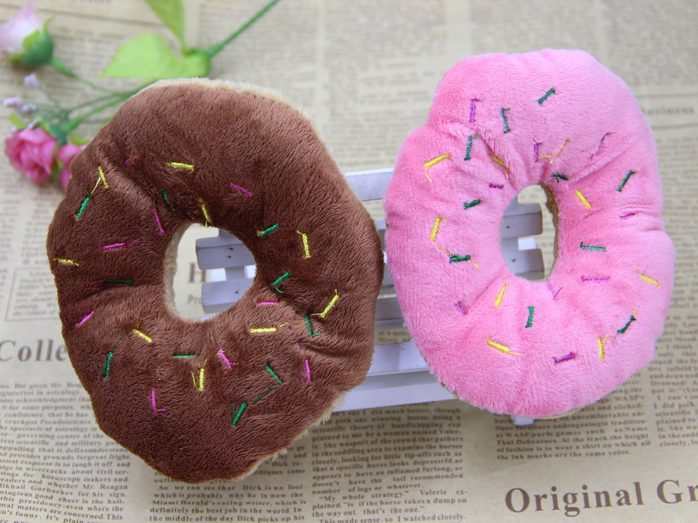 13cm Sightly Pet Chew Cotton Donut Play Toys Lovely Pet Dog Puppy Cat Tugging Chew Squeaker Quack Sound Toy Chew Donut Play Toys #5