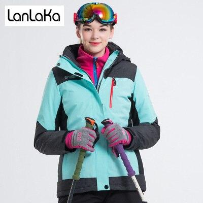 LANLAKA NEW Brand Ski Jacket Women Skiing Snowboarding jackets Warm Snow Coat Breathable 7 Color Optional Ski Jackets Female lanlaka 2018 ski jacket women winter waterproof jacket high quality skiing snowboarding jackets warm breathable ski suit female