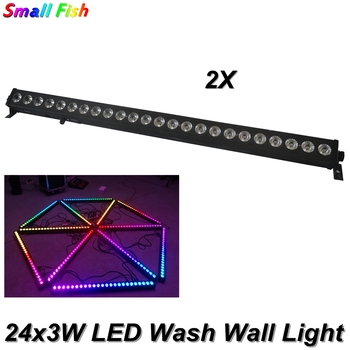 цена на 2Pcs/Lot LED Wash Wall 24x3W RGB 3in1 Stage Lighting With Horse Race Effect Stage Lighting DMX512 Sound Disco Party DJ Equipmen
