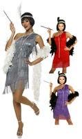 Miễn phí vận chuyển Đen Đỏ bạc Flapper Costume 459 G58 1920 s Roaring 20 s Charleston Dress với Feather Boa, kích thước Headband s-3xl