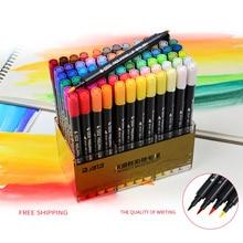 80 Цветов Искусства и Графического Рисования Манги На Водной Основе Пигмента чернил Twin Tip Brush & Fine Tip Эскиз Маркер Акварель Кисти ручка