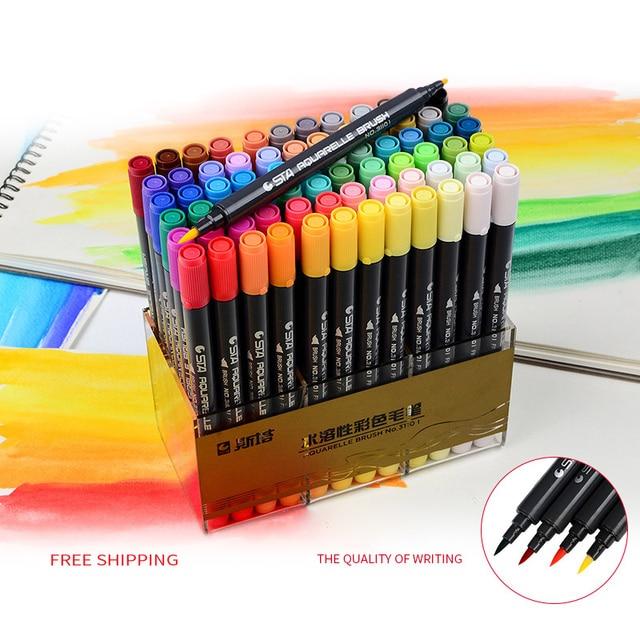 80 Kleuren Art en Grafische Tekening Manga Waterbasis Pigment inkt Twin Tip Borstel & Fine Tip Sketch Marker Pen Aquarelle Borstel Pen
