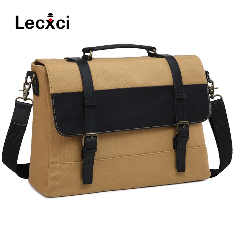 цена Lecxci Men's retro canvas Messenger bag crazy horse leather soft bag retro bag buckle fashion casual style shoulder diagonal bag