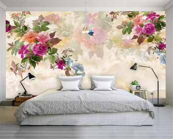 beibehang 3D photo wallpaper marble hand-painted peony flower mural bedroom living room sofa TV background wall 3d wallpaper цена 2017