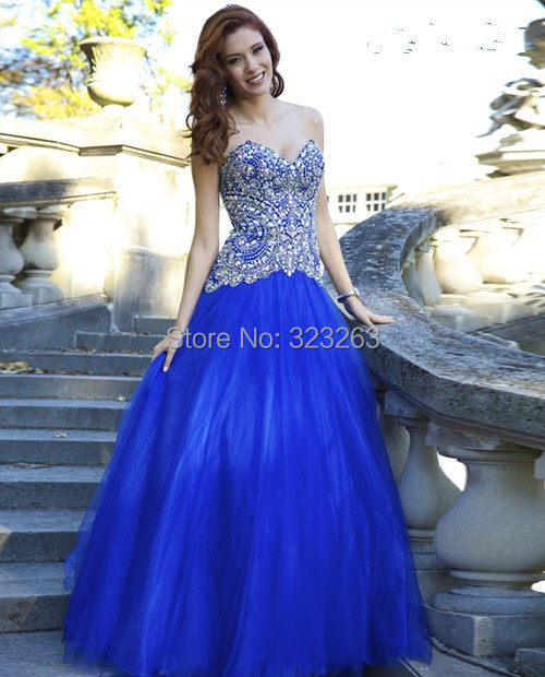Sparkly Extravagant Beaded A Line Sweetheart Royal Blue Prom Gowns ...