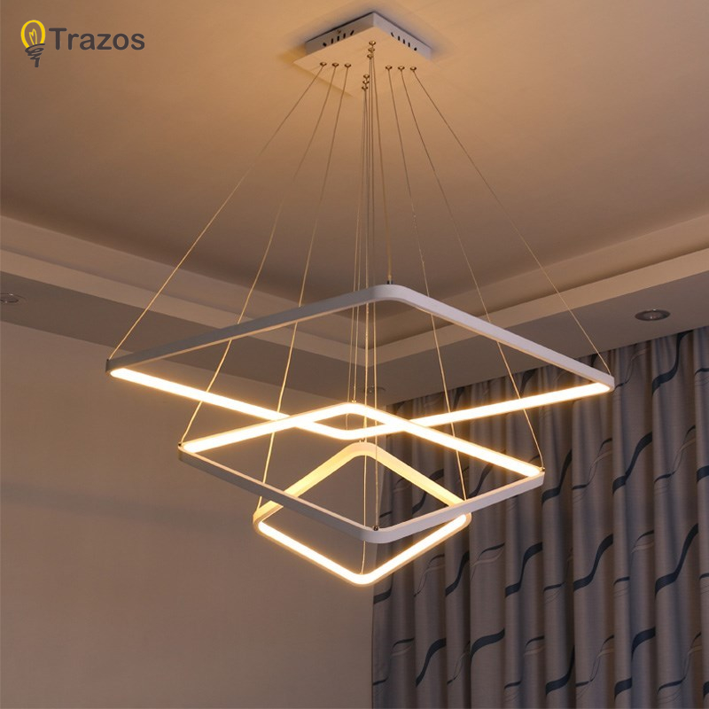 Square Modern LED chandelier acrylic lights lamp for dinning room living room hanging pendant Chandelier Fixture free shipping