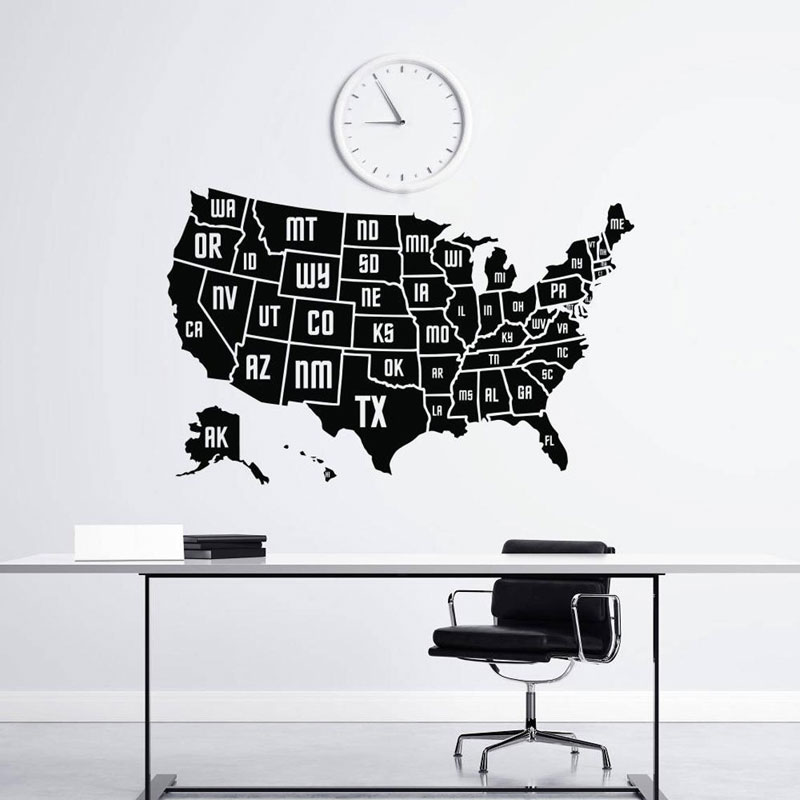 Wall Decal USA Map Vinyl Applique Sticker Office Decor Large American Map Mural Furniture Living Room Decorl DT23 in Wall Stickers from Home Garden