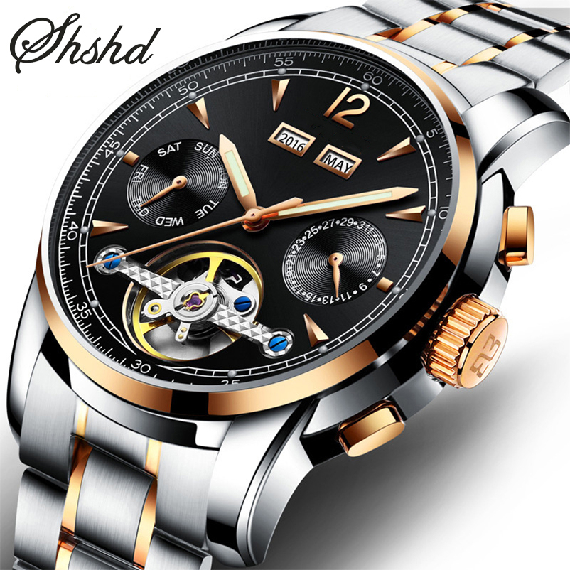 Stainless Steel Tourbillon Watch Automatic Mechanical Wristwatches Luxury Men Watch Metal Band Clock Men Luminous Montre Homme diy cute penguin style solar energy powered rechargeable toy kit black white