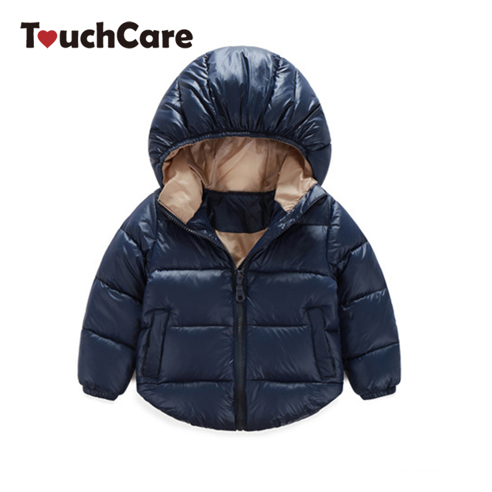 Warm Soft Thicken Baby Winter Coats Solid Causal Snowsuit Cotton Kids Jackets Hooded Outerwear Baby Boys Girls Clothes