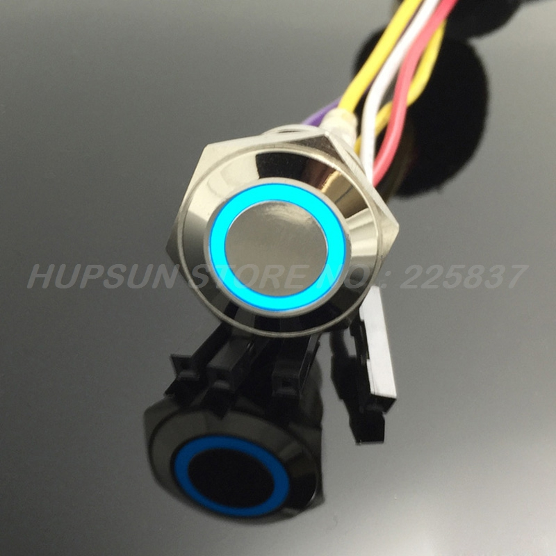 цена на 3pc waterproof LED 2a 16mm metal momentary computer PC push button switch w/ 50cm wire power button motherboard switch metal 5v