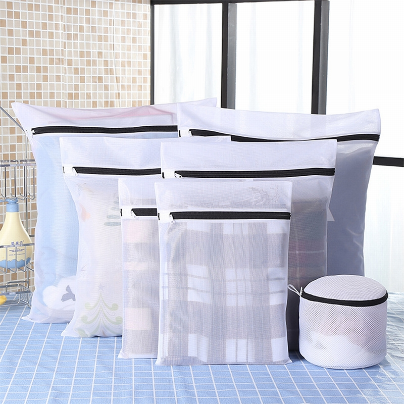 IVSHION Clothes Laundry Bag Black Nylon Case For Underwear Clothes Washing Bag Set Machine Laundry Bag Protection Net Mesh Bags(China)