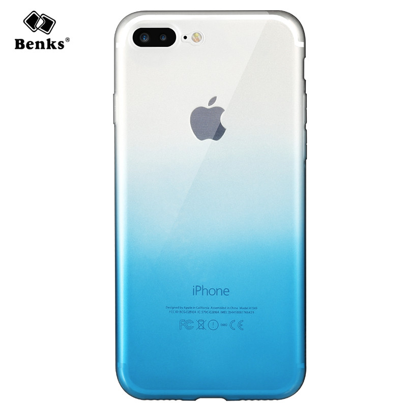 c2aa8dcf89091 Original Benks for iPhone 8 Case Silicone Cover Fashion Soft TPU Gradient  Color Phone Case for
