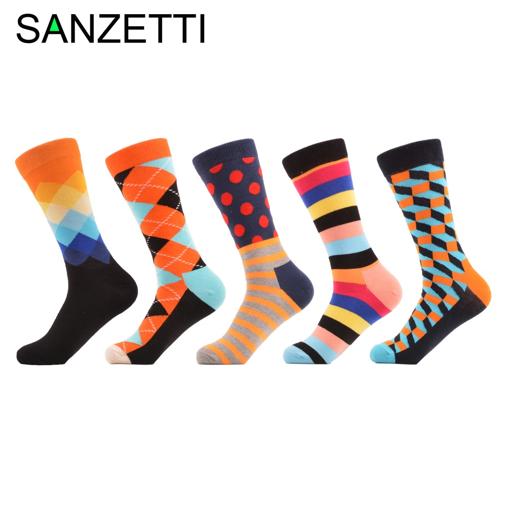 SANZETTI 5 pairs/lot Fashion Funny Happy Socks Novelty Casual Mens Combed cotton Crew Dress Wedding Socks Cool Male Streetwear