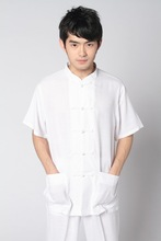 Chinese Tradtional Tops Mens Cotton Blend Short-Sleeves Shirt Size M-3XL
