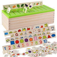 Montessori Matematica Knowledge Classification Box Montessori Materials Learn checkers Fruit Figure Toys for Children Wood Box