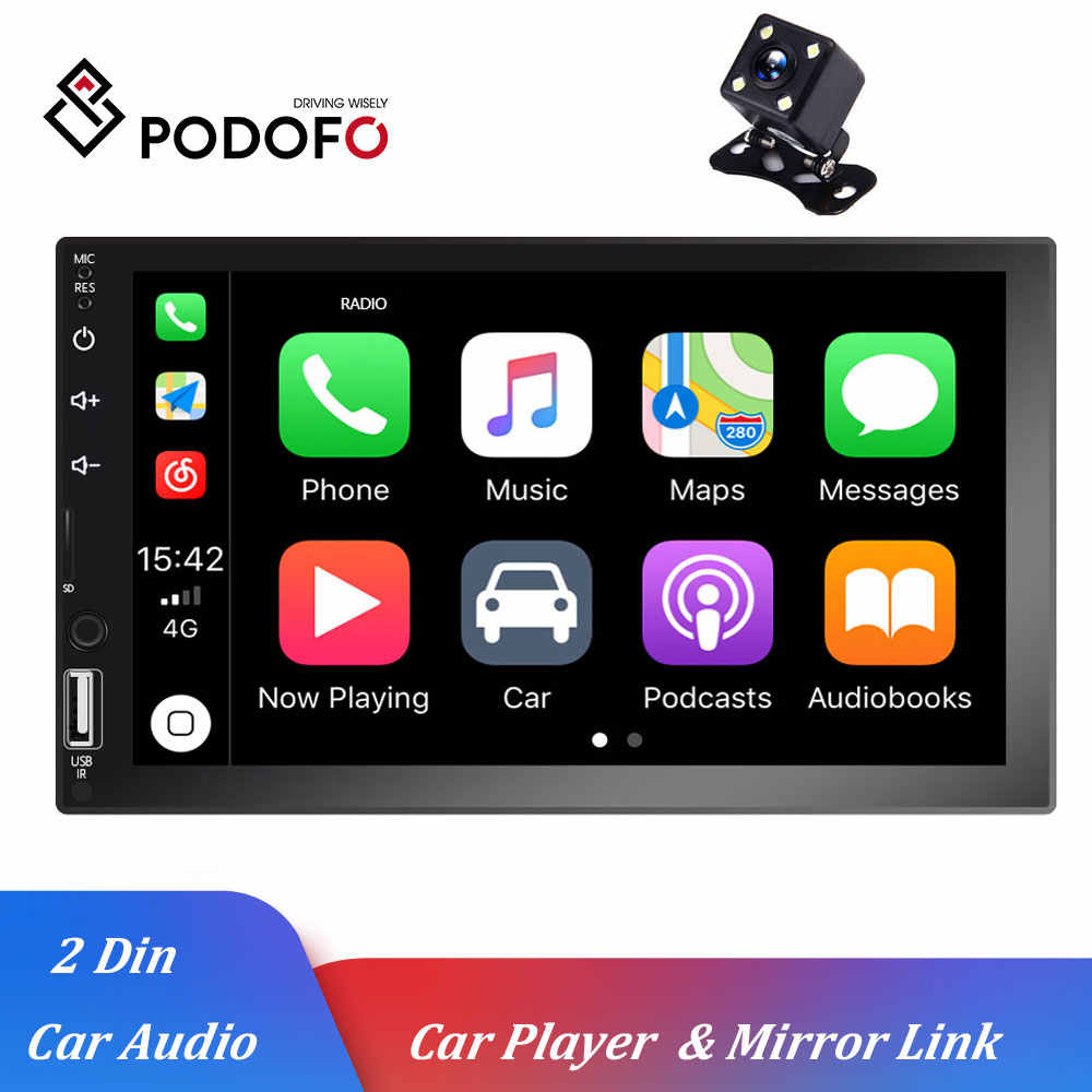 "Podofo uniwersalny samochodowy odtwarzacz multimedialny 2Din 7 ""radio samochodowe stereo d-play Autoradio Mirrorlink auto audio Bluetooth MP5 audio stereo"