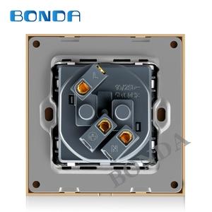 Image 3 - Bonda eu標準ホワイトブラックゴールドクリスタルガラスパネルac 110 250v 16A壁電源Socket16A 2100ma電気壁電源ソケット