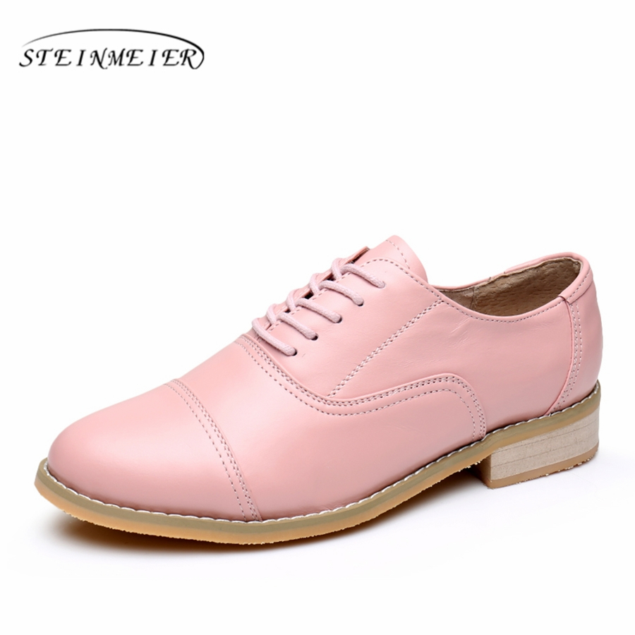 Genuine leather big woman US10.5 designer vintage flats shoes round toe handmade pink 2017 oxford shoes for women with fur  2017 vintage style real leather women flats brife pointed toe slip on handmade genuine leather designer shoes woman