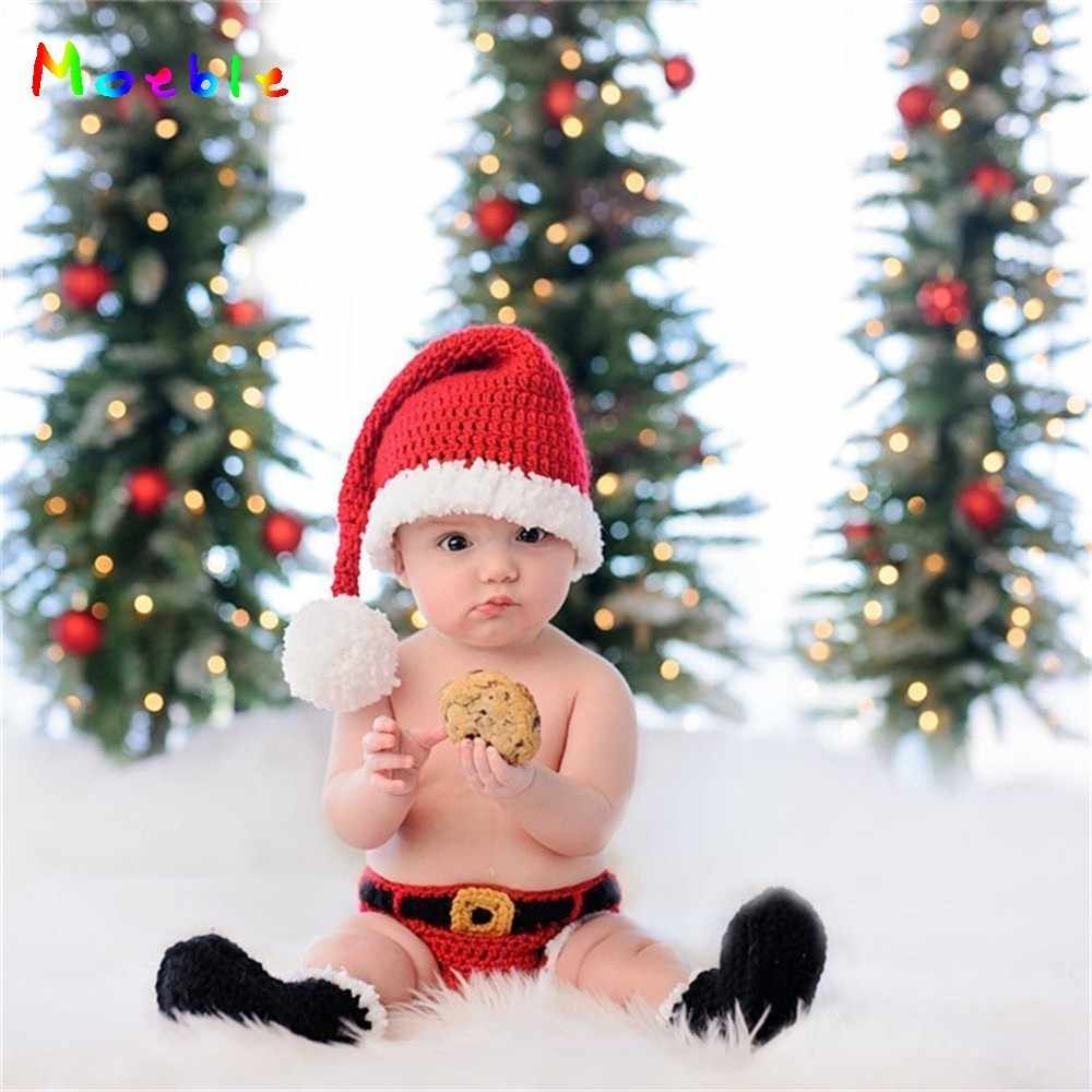 Crochet baby newborn photography props santa clause costume for newborn photo shoot knitted infant christmas hat