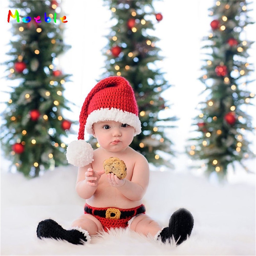 Crochet baby newborn photography props santa clause costume for newborn photo shoot knitted infant christmas hat winter beanie in hats caps from mother