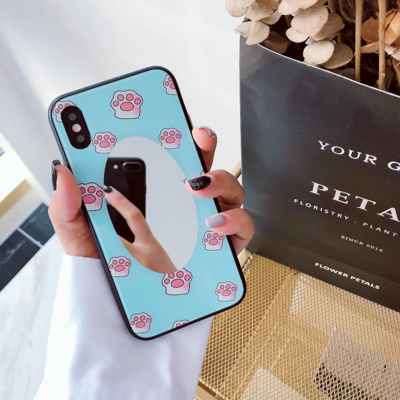 ProElite Soft Edge Silicone Case for iPhone 7 8 Plus X 6 6S Plus Cute Cartoon Cat Pattern Tempered Glass Mirror Hard Back Case