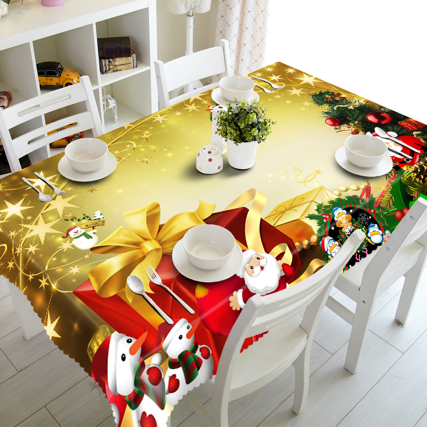Customizable Christmas Thicken Cotton Tablecloth Red Exquisite New Year Present Pattern Party Table Cloth Dcorations For Home