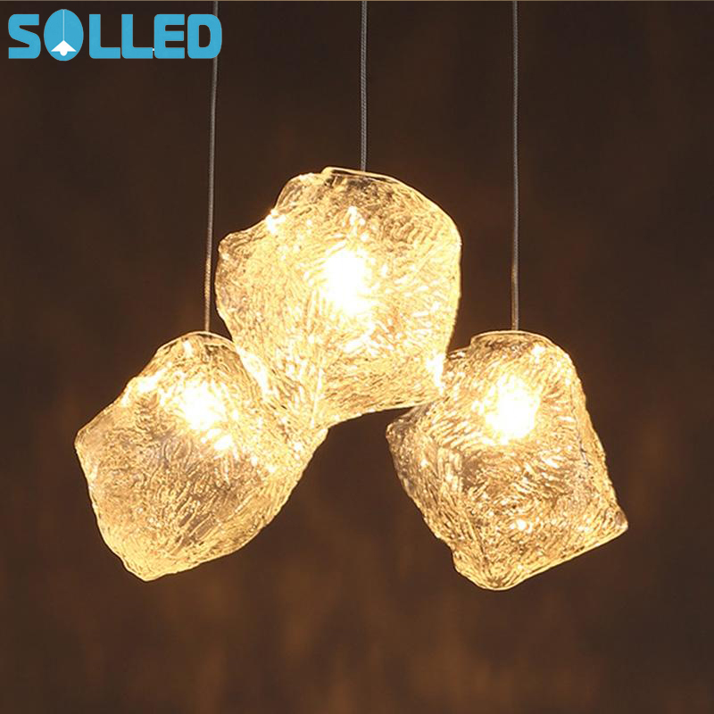 1pcs Ice Cube Shape 40W LED Pendant Lamp Ceiling Chandelier For Rock Bar Hotel Lighting
