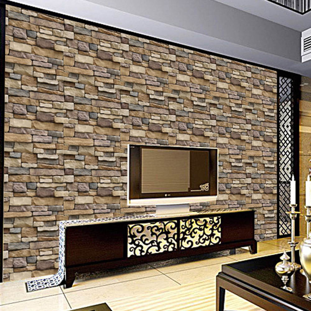 3d 45x100cm Brick Stone Wall Sticker Pvc Rustic Effect Diy